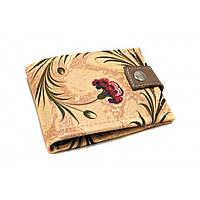 Женский кошелек из натуральной кожи Бордовый цветок