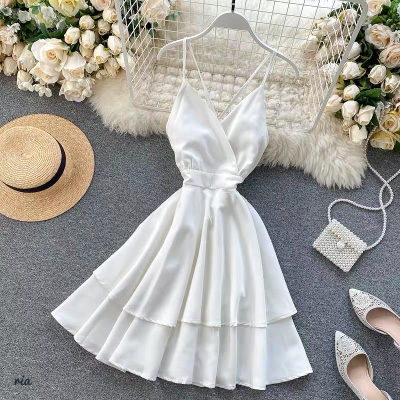 Летнее платье на бретелях с двойной расклешенной юбкой 77plt1480
