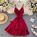 Летнее платье на бретелях с двойной расклешенной юбкой 77plt1480, фото 3