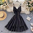 Летнее платье на бретелях с двойной расклешенной юбкой 77plt1480, фото 4