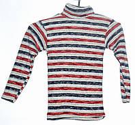 Гольф вязаный для мальчика 4-7 лет бордовый в полоску