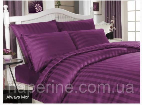 Постельное бельё сатин Altinbasak Mor Страйп фиолетовый