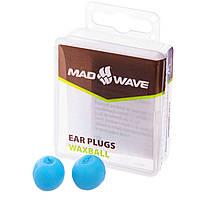 Силіконові беруші для вух для плавання 2 шт в пластиковому футлярі Mad Wave Блакитний (СПО M071701)