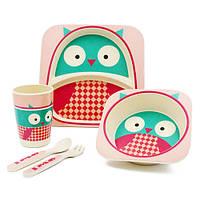 Бамбуковая посуда для детей Совушка 5 предметов