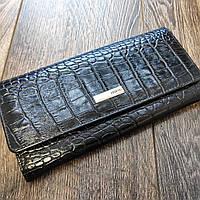 Черный женский кожаный кошелек под крокодила Karya