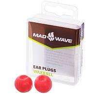 Силіконові беруші для вух для плавання 2 шт в пластиковому футлярі Mad Wave Червоний (СПО M071701)