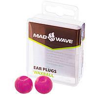 Силіконові беруші для вух для плавання 2 шт в пластиковому футлярі Mad Wave Фіолетові (СПО M071701)