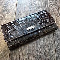 Женский кожаный лаковый кошелек под крокодила Karya