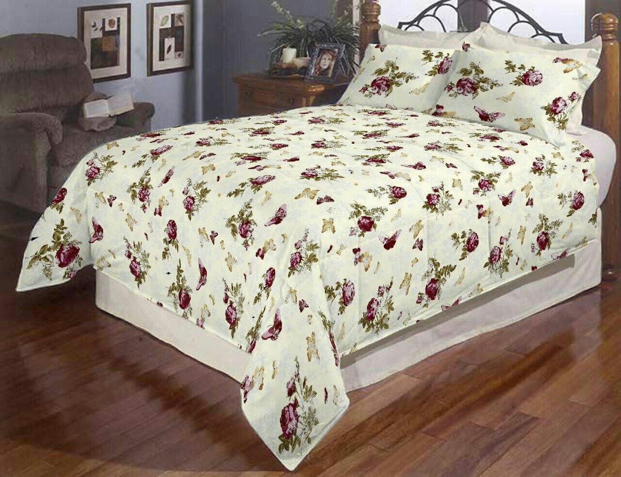 Двуспальный постельный комплект-Роза бабочка классика
