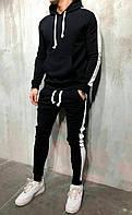 Спортивный костюм мужской с лампасами осенний демисезонный трикотажный | черно-белый