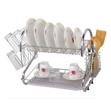 Сушилка для посуды Kamille двухъярусная 55х25.5х39.5см KM-0766, фото 2