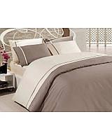 Качественное постельное белье First Choice. Satin Коричневый и белый - Евро 7489, фото 1