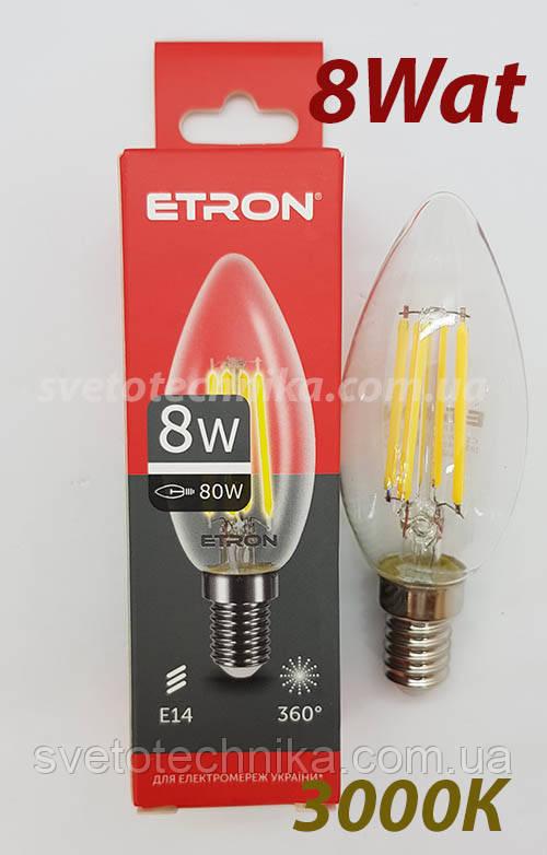 Лампа филамент свеча 8 ват Е14 3000К