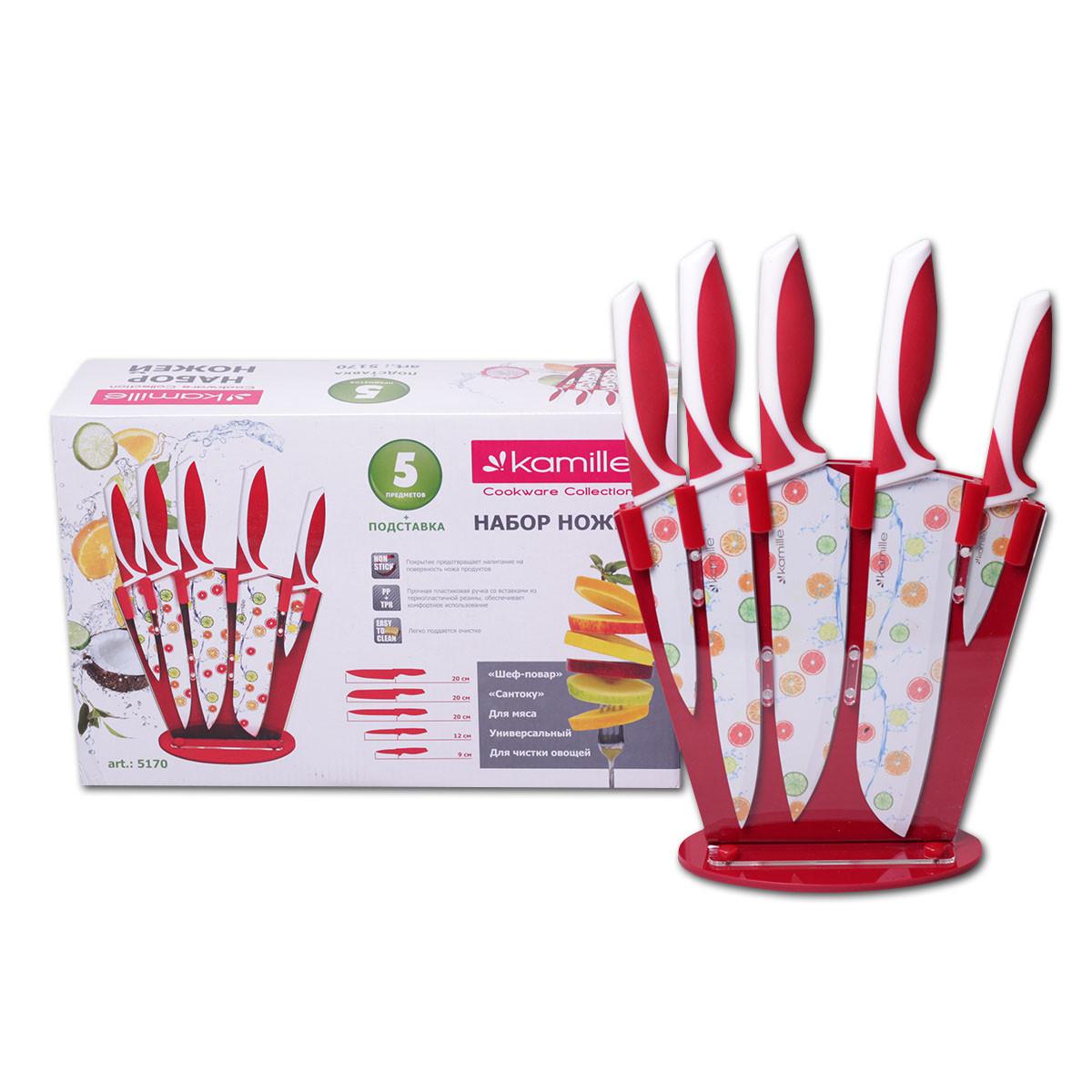 Набор ножей Kamille 6 предметов с антипригарным покрытием KM-5170