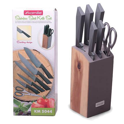 Набор ножей и ножницы Kamille 7 предметов из нержавеющей стали на деревянной подставке KM-5044, фото 2