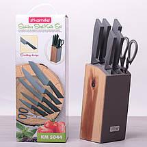 Набор ножей и ножницы Kamille 7 предметов из нержавеющей стали на деревянной подставке KM-5044, фото 3