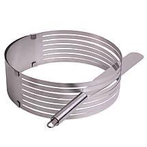 Форма для бисквита Kamille регулируемая 24,5-30 см с отверстием для нарезки и ножом KM-7789, фото 3