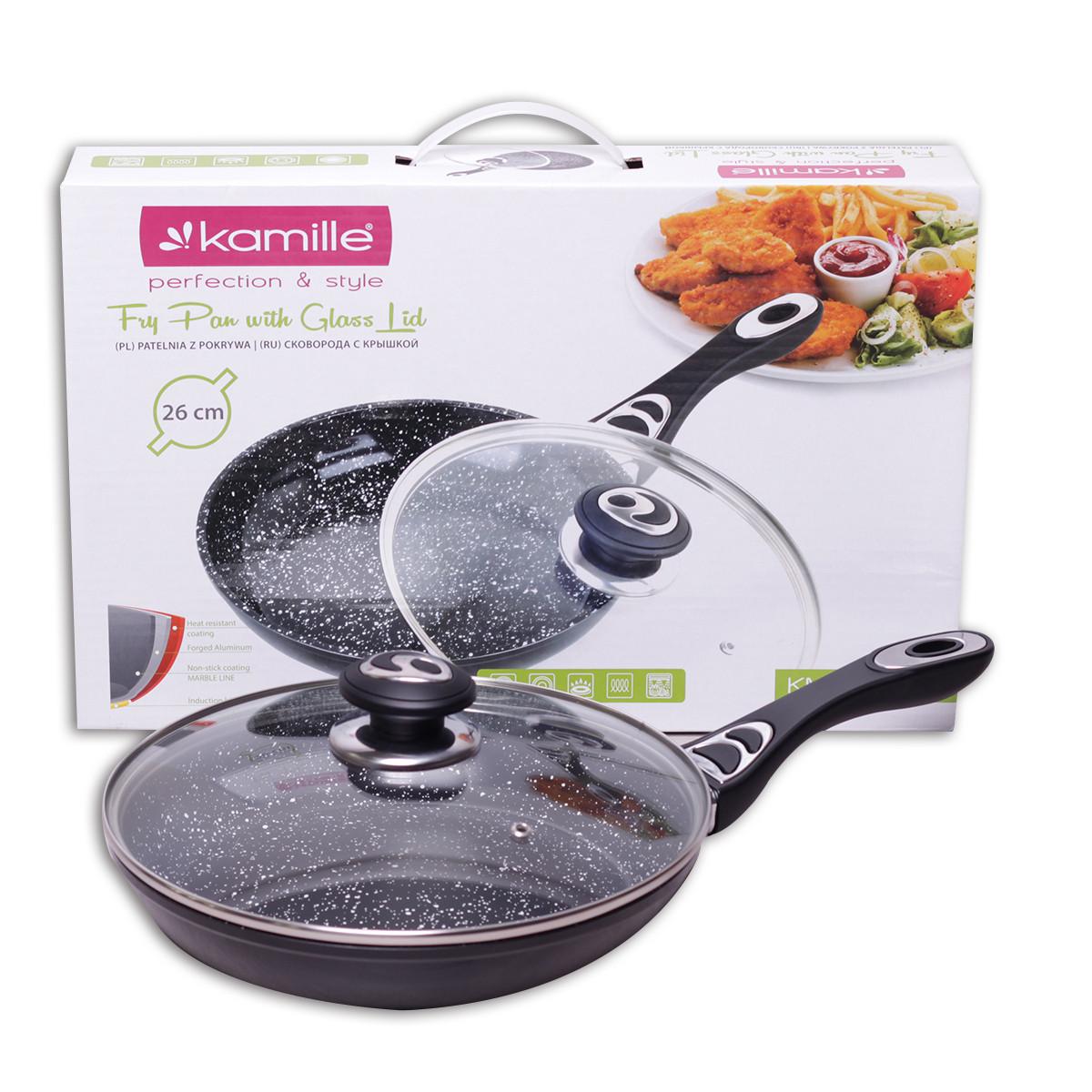 Сковорода Kamille 26см с керамическим покрытием мрамор и крышкой KM-4256MR
