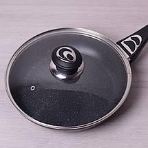 Сковорода Kamille 26см с керамическим покрытием мрамор и крышкой KM-4256MR, фото 3