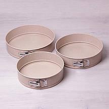 Набор разъемных форм Kamille 3шт 24/26/28см с антипригарным покрытием мрамор KM-6031, фото 3