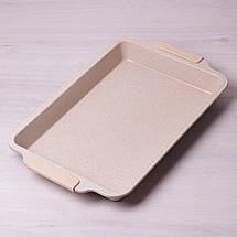 """Форма для запекания Kamille 46*29.5см с антипригарным покрытием """"мрамор"""" и силиконовыми ручками KM-6027, фото 2"""