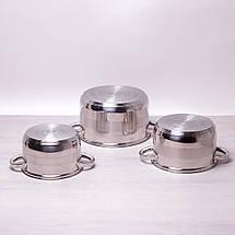 Набор кастрюль Kamille из нержавеющей стали 6 предметов (2.9л, 3.9л, 6.5л) KM-4500S, фото 2
