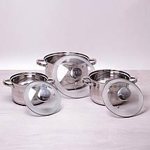 Набор кастрюль Kamille из нержавеющей стали 6 предметов (2.9л, 3.9л, 6.5л) KM-4500S, фото 3