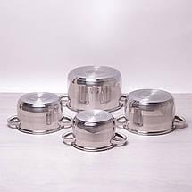 Набор кастрюль Kamille из нержавеющей стали 8 предметов для индукции и газа (2.1л, 2.9л, 3.9л, 6.5л) KM-4503S, фото 2