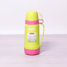 Термос Kamille Желтый 600мл пластиковый со стеклянной колбой KM-2076, фото 2