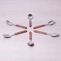 Набор столовых ложек Kamille 6 предметов из нержавеющей стали с деревянными ручками KM-5302, фото 3