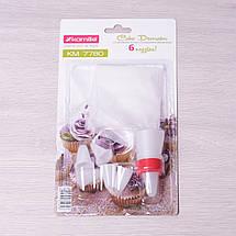 Кондитерский мешок Kamille с переходником и 6 пластиковыми насадками KM-7780, фото 3