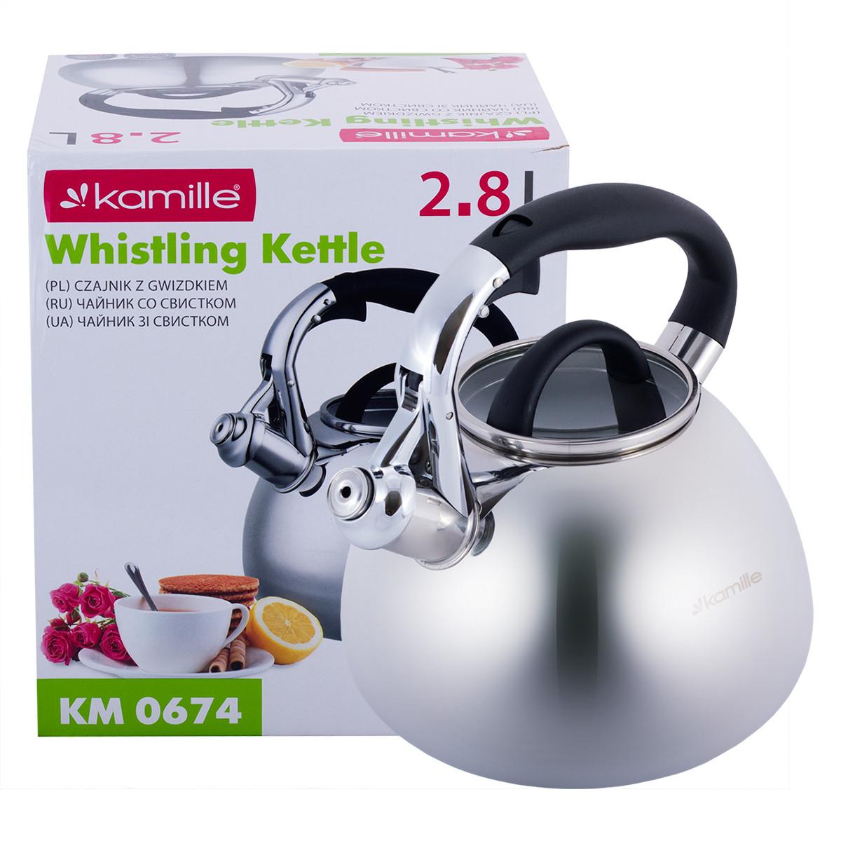 Чайник Kamille 2.8л из нержавеющей стали со свистком и стеклянной крышкой для индукции и газа KM-0674