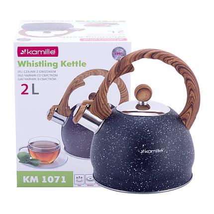 Чайник Kamille 2л из нержавеющей стали со свистком и бакелитовой ручкой для индукции и газа KM-1071, фото 2