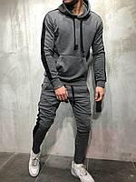 Спортивный костюм мужской с лампасами темно-серый   Комплект Худи + Штаны весенний осенний демисезонный