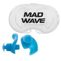 Силиконовые беруши для ушей для плавания 2 шт в пластиковом футляре Mad Wave ERGO Голубой (СПО M071201)
