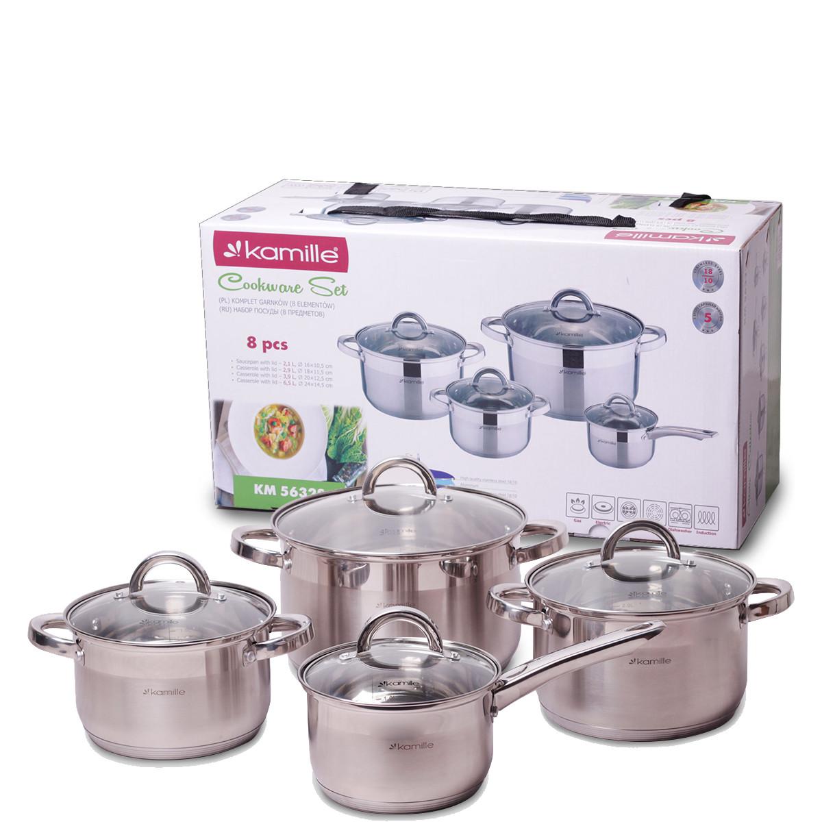 Набор посуды Kamille из нержавеющей стали 8 предметов для индукции и газа (2.1л, 2.9л, 3.9л, 6.5л) KM-5632S
