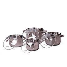 Набор посуды Kamille из нержавеющей стали 8 предметов для индукции и газа (2.1л, 2.9л, 3.9л, 6.5л) KM-5632S, фото 3