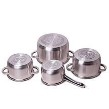 Набор посуды Kamille из нержавеющей стали 8 предметов для индукции и газа (2.1л, 2.9л, 3.9л, 6.5л) KM-5632S, фото 2