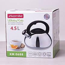 Чайник Kamille 4.5л из нержавеющей стали со свистком для индукции и газа KM-0688, фото 3