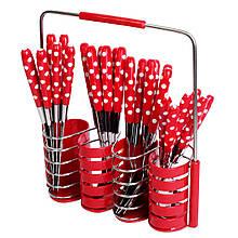 Набор столовых приборов Kamille 24 предмета из нержавеющей стали с пластиковыми ручками и подставкой KM-5240
