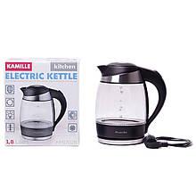 Чайник электрический Kamille 1.8л с синей LED подсветкой и стальными декоративными вставками KM-1702B