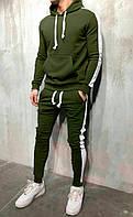 Спортивный костюм мужской с лампасами весенний осенний демисезонный трикотажный Комплект | хаки