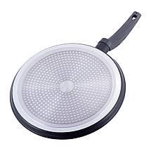 Сковорода Kamille блинная 28см с антипригарным покрытием Black marble из алюминия  для индукции и газа KM-4128, фото 3