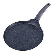 Сковорода Kamille блинная 28см с антипригарным покрытием Black marble из алюминия  для индукции и газа KM-4128, фото 2