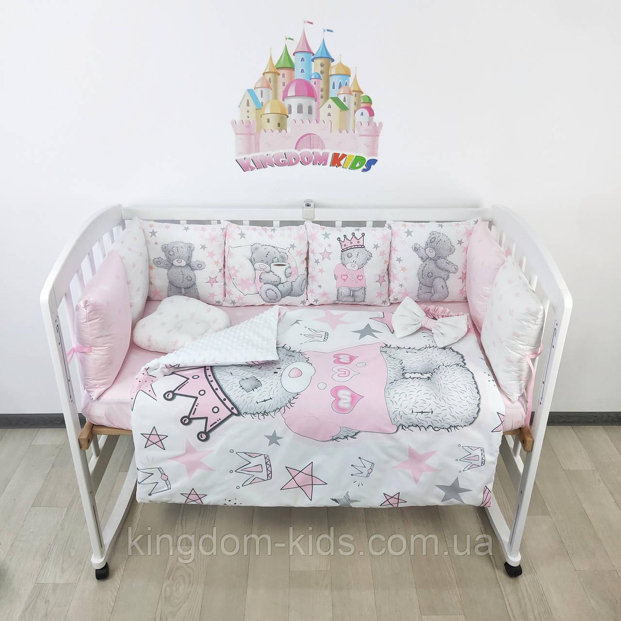 Комплект бортиков и постельного в кроватку с мишками Тедди в нежно-розовых тонах на 3 стороны - 8 подушечек со съемными наволочками!