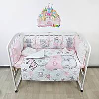 Комплект бортиков и постельного в кроватку с мишками Тедди в нежно-розовых тонах на 3 стороны - 8 подушечек со съемными наволочками!, фото 1