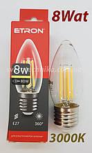 Лампа филамент свеча 8 ват Е27 3000К
