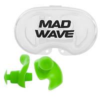 Силіконові беруші для вух для плавання 2 шт в пластиковому футлярі Mad Wave ERGO Зелений (СПО M071201)