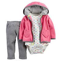 Теплый детский комплект 3в1(штанишки+боди футболка+теплая флисовая кофточка)для девочки Картерс
