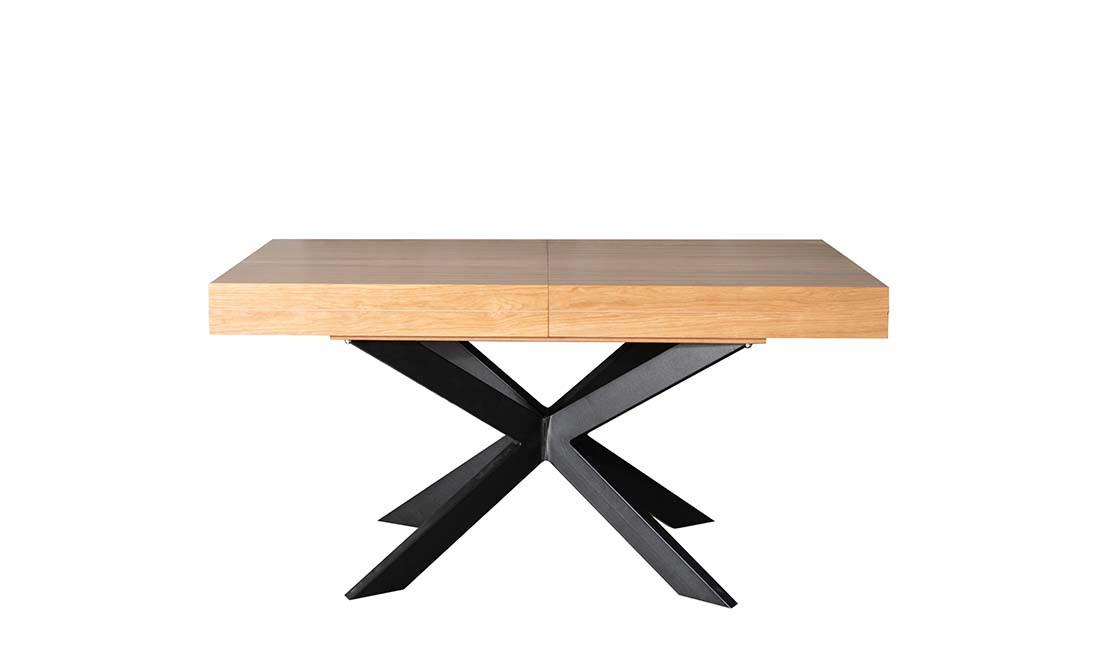 Стол обеденный раскладной в стиле лофт  Хантер  PRESTOL, цвет столешницы дуб